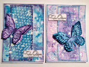 Zwei Karten mit Schmetterling un Ostergruß