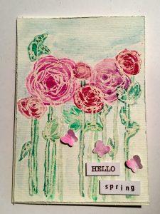 Wasserfarben Rosenkarte